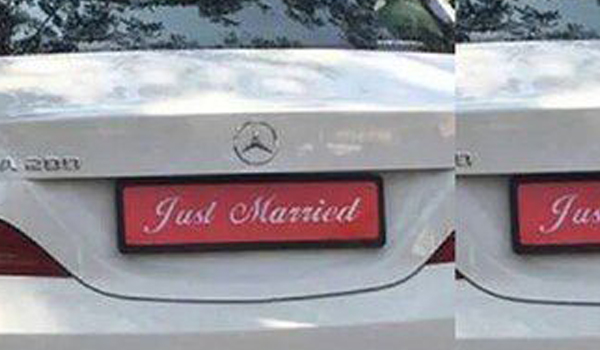 Number plate changed to Just married Department of Motor Vehicles fined